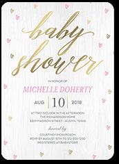 raining love girl baby shower invitation 5x7 flat