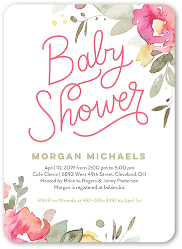 Bold Fl 5x7 Baby Shower Invitations