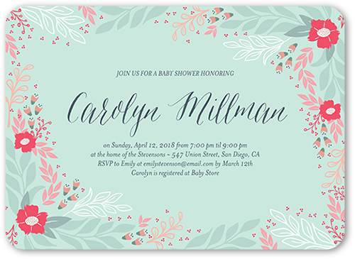 Border Florals Baby Shower Invitation, Rounded Corners