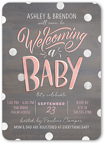 amazing type girl baby shower invitation