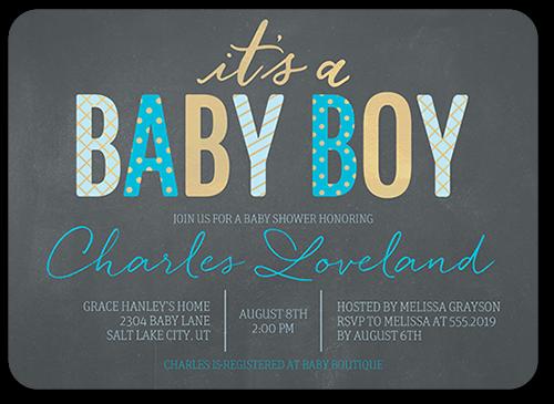 Fabulous Pattern Boy 5x7 Baby Shower Invitations