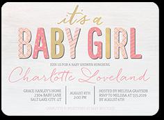 fabulous pattern girl baby shower invitation 5x7 flat