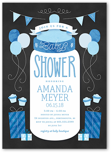 Simple Bottle Boy Baby Shower Invitation, Square Corners
