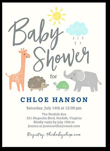 Safari Friends Baby Shower Invitation, Square Corners