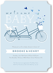 bicycle built for three baby shower invitation