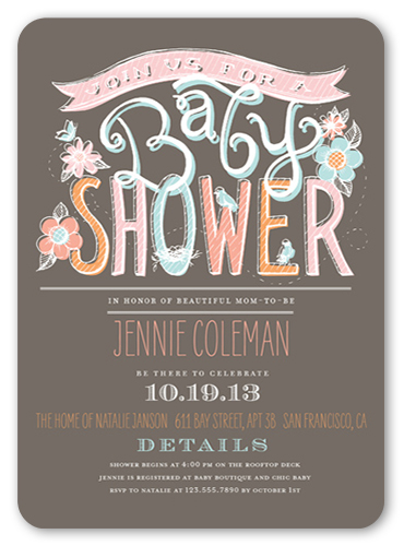 chalk pastels girl x invitation  baby shower invitations, Baby shower invitation