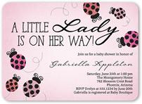ladybug sparkle baby shower invitation 5x7 flat