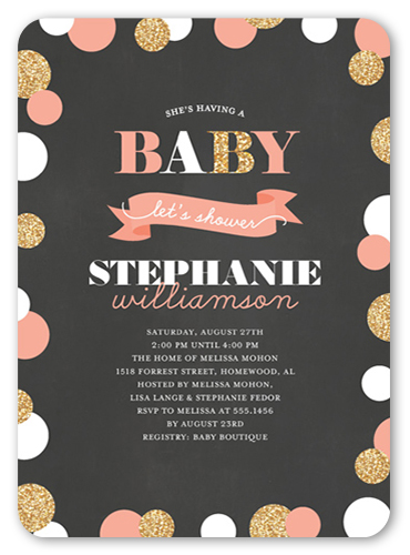 Confetti Glitter Girl Baby Shower Invitation, Rounded Corners