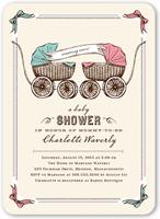 precious pram twins baby shower invitation 5x7 flat