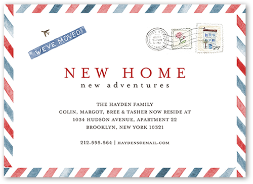 Air Mail Home Moving Announcement