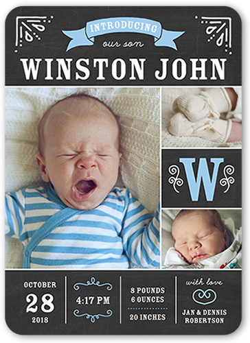 Chalkboard Introduction Boy Birth Announcement
