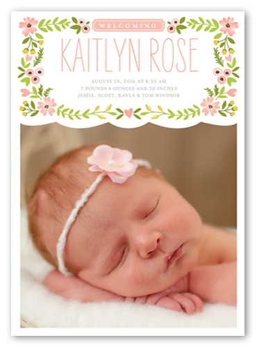 English Garden Girl Birth Announcement