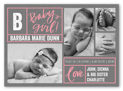 Lots Of Borders Girl Birth Announcement