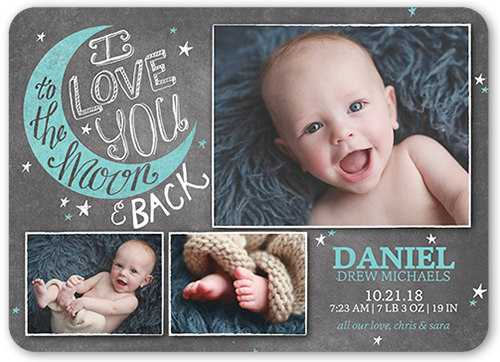 To the Moon Boy 5x7 Baby Announcements – Shutterfly Baby Announcements