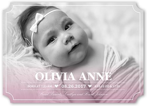 Little Sweetheart Girl Birth Announcement