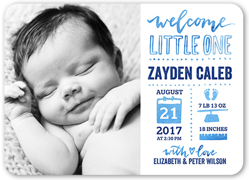 Hello Little One Boy 5x7 Custom Birth Announcements – Boy Birth Announcement