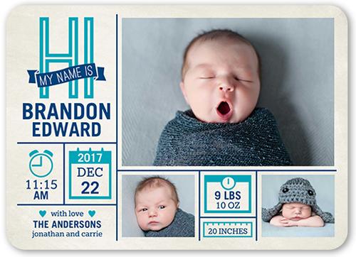Newborn Miracle Boy 5x7 Birth Announcements – Baby Boy Birth Announcement