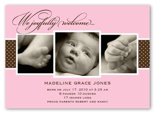 Triple Play Pink Birth Announcement