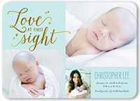 love at first sight boy birth announcement 5x7 flat