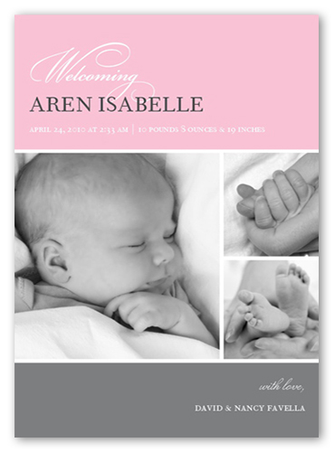 Bella Baby Pink Birth Announcement