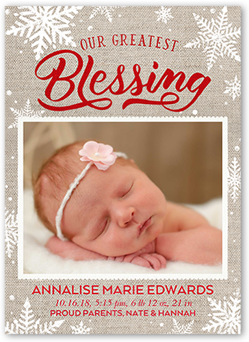 Bundle Of Blessings Birth Announcement, Square Corners