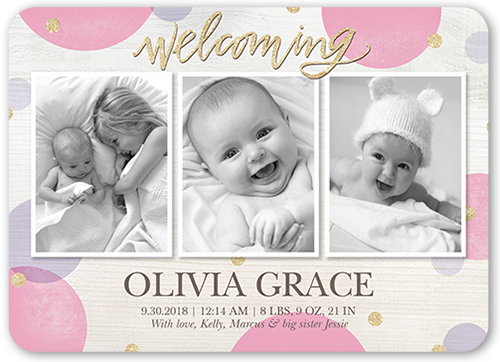 Welcoming Confetti Girl Birth Announcement