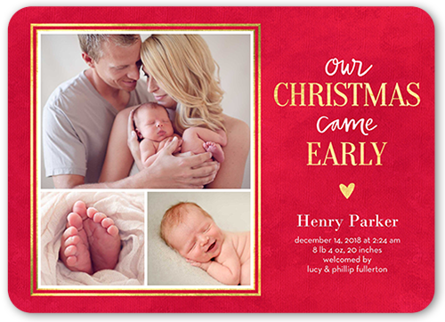 Early Christmas Birth Announcement, Rounded Corners