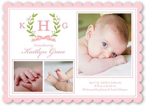 Newborn Laurels Girl Birth Announcement