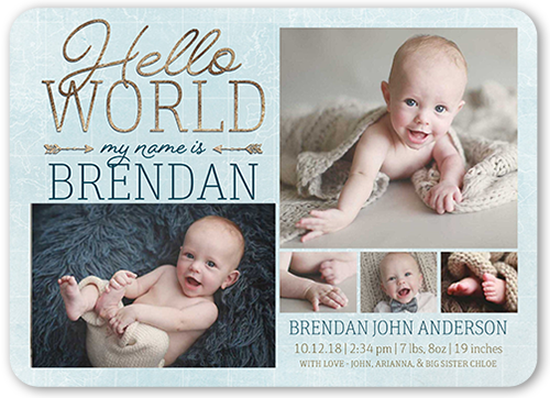 Newborn Hello Birth Announcement