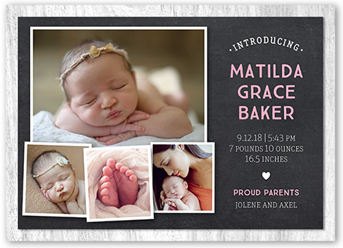 Chalkboard Intro Girl 5x7 Birth Announcements – Birth Announcements Shutterfly