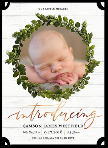 Welcome Wreath Boy Birth Announcement