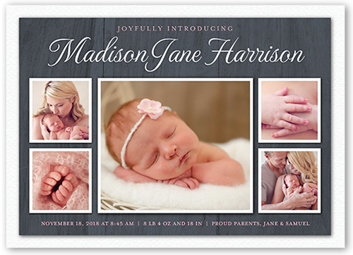 Wooden Newborn Girl Birth Announcement