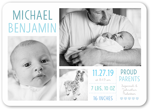 Precious Debut Boy Birth Announcement, Rounded Corners