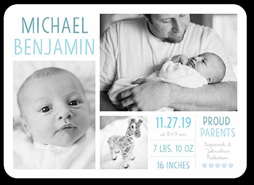 precious debut boy 5x7 birth announcement cards