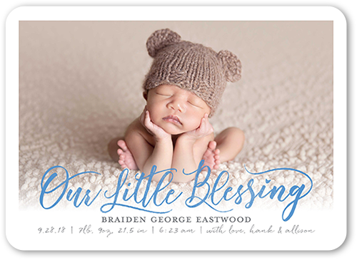 Little Blessing Boy Birth Announcement, Rounded Corners