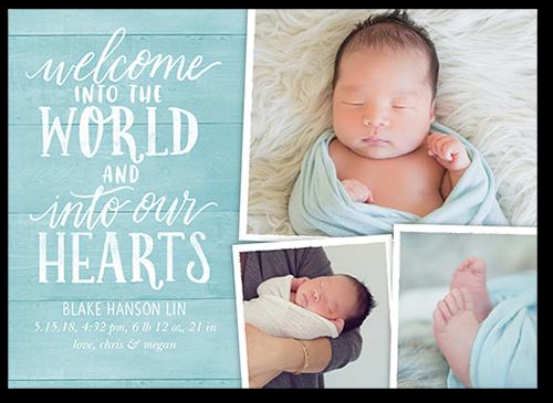 Rustic Welcome Boy Birth Announcement, Square Corners