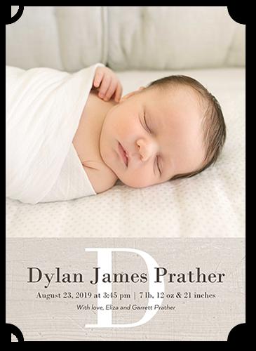 Simple Monogram Boy Birth Announcement, Ticket Corners