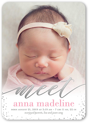 Delicate Introduction Girl Birth Announcement, Rounded Corners
