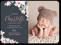fabulous floral girl birth announcement 5x7 flat