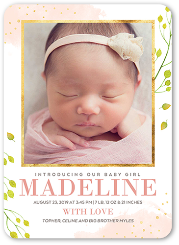 Elegant Watercolor Girl 5x7 Birth Announcement Card Shutterfly