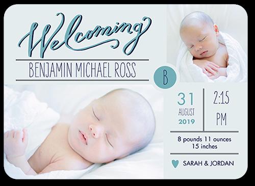 Splendid Sweetheart Boy Birth Announcement, Rounded Corners