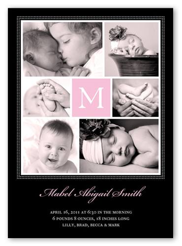Many Memories Pink Birth Announcement