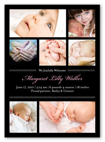 Picture Frames Pink Birth Announcement, Square Corners