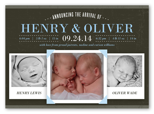 Announcing The Arrival Boy Birth Announcement