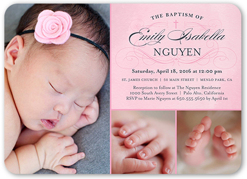 Faithful flourish girl 5x7 invitation baptism invitations shutterfly flourish girl baptism invitation visible part transiotion part front stopboris Image collections