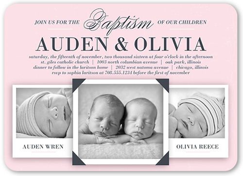 Precious Twin Girls Baptism Invitation by Float Paperie