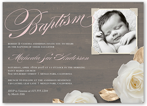 Woodgrain Girl 5x7 Invitation Baptism Invitations Shutterfly