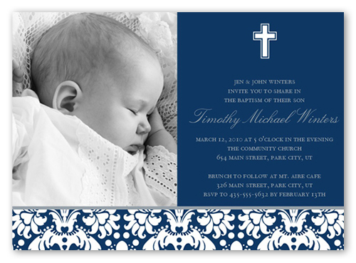 Baptism Baroque Navy Invitation Baptism Invitations Shutterfly