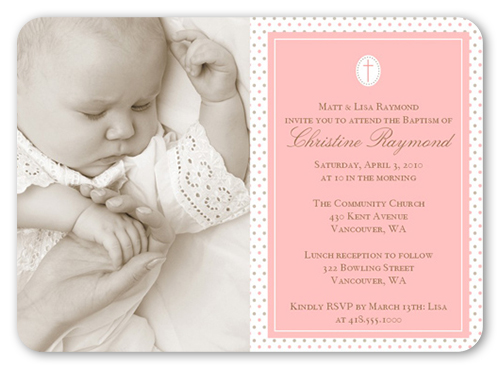 Seraphic Dots Pink 5x7 Invitation Card Baptism Invitations
