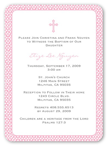 Pink Sprinkles Baptism Invitation